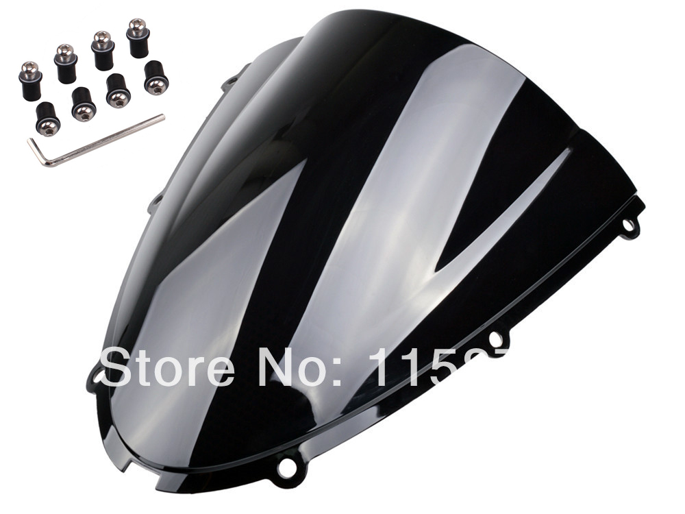 Black Windshield Windscreen For Kawasaki ZX6R 636 2005 2006 2007 2008 Free Shipping