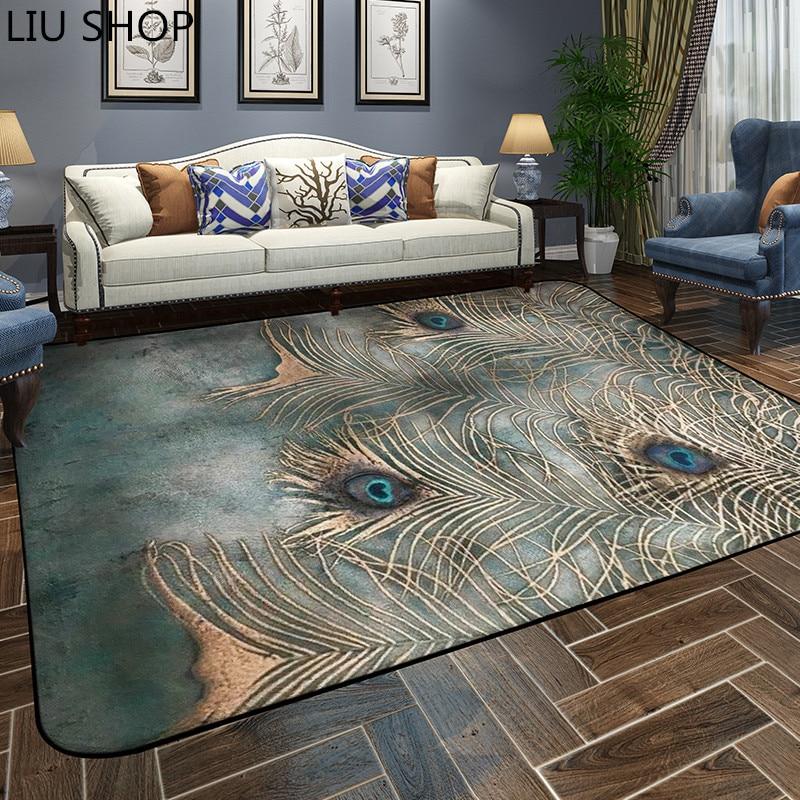 US $70.38 31% di SCONTO|LIU pavone Tappeto del salotto tappeto camera da  letto tappeto stile europeo semplice e moderno tea table divano camera da  ...