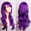 Fahion Curly Wave Hair pad Purple anime Cospaly  wig 70CM Young long Synthetic Wig Perruque peluca  peruca Lolita femininas