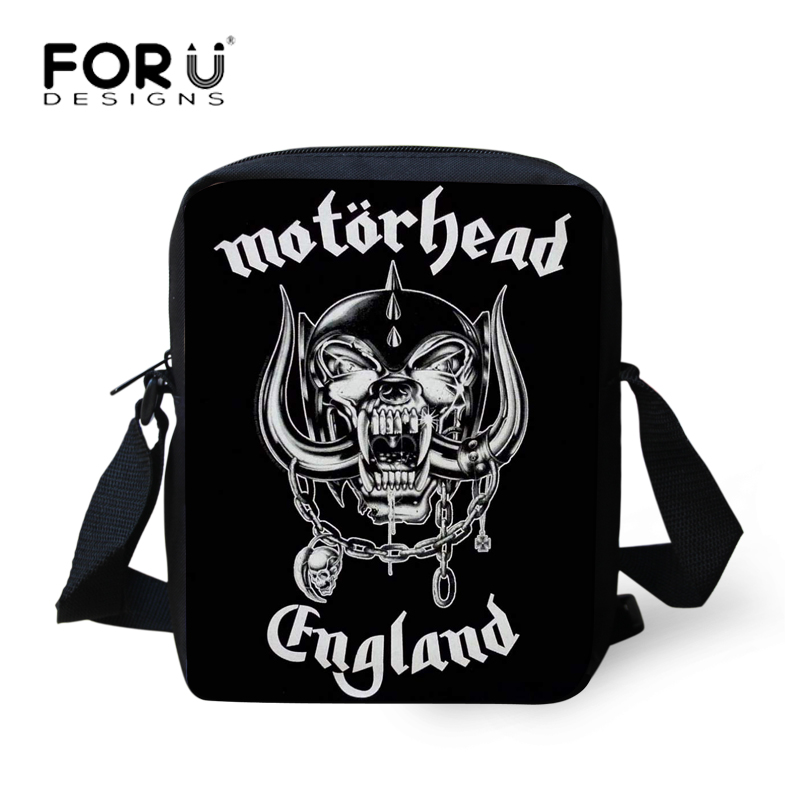 FORUDESIGNS Mens Messenger Bags Metallica Skull Motorhead Heavy Metal Rock Design Cool Crossbody Bags for Men Teen shoulder bag rock men gift special design skull
