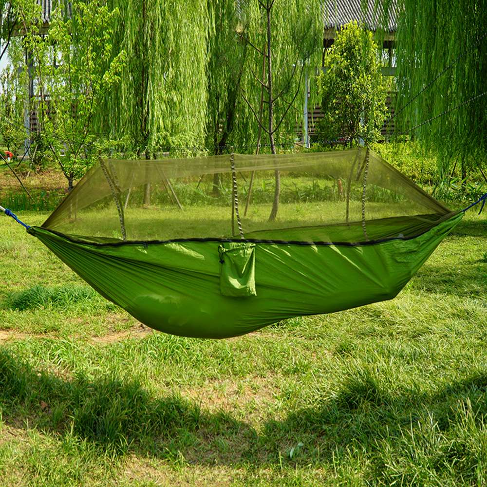 Double Automatic Nnfolding Hammock 260 X 140CM New 210T Nylon Material Ultralight Parachute Hammock Tunting Mosquito Net Lifting