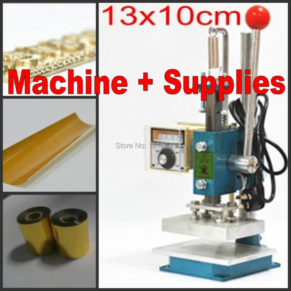 Klebeband Kits Customized Stempel Sterben 220 V 10x13 Cm Hell Neue Heiße Folien-aushaumaschine Leder Debossing Maschine 2 In 1 Folie