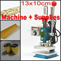 New Hot foil stamping machine leather debossing machine 2 in 1 (10x13cm) 220V+ Customized stamp die + Foil + adhesive tape kits