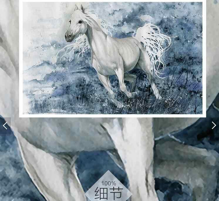カスタム3d壁紙壁画ヨーロッパ、油絵白い馬フレスコ用リビングルームの寝室のテレビの背景装飾壁紙