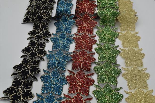 5yards Iron On Hot Fix Rhinestone Embroidered Beads Lace Trim Bridal Wedding Tulle