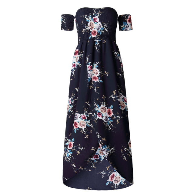 Boho Long Dress Women Off Shoulder Beach Summer Floral Print Vintage Chiffon Dresses Plus Size