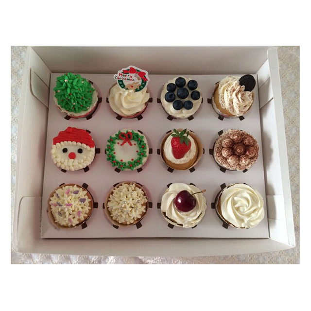 12 holes muffin cupcake paper box pastry chocolate candy white packaging box wedding christmas birthday party