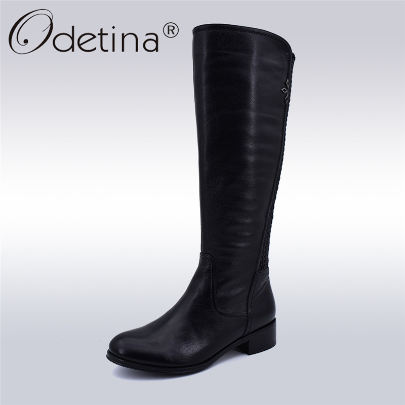 2bb1bc312e8 Odetina New Fashion Handmade Genuine Leather Riding Boots Women Side ...