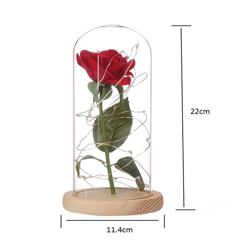 LED Strip Light Flashing Luminous Artificial Rose Romantic Decoration Flower Wedding Valentine's Day Gift for Lover Birthday