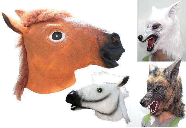 Halloween Décors De Fête Adulte Animal Masque Latex Cheval/Chimpanzé/Loup  Chapeaux Plein Visage