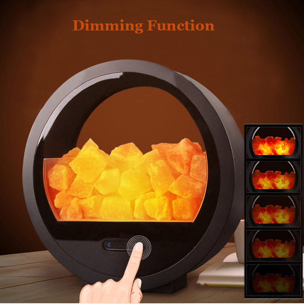 Home Office Decor Relaxing Negative Ion Himalayan Salt Lamp with Dimmer Bluetooth Speaker in Table Lamps from Lights Lighting