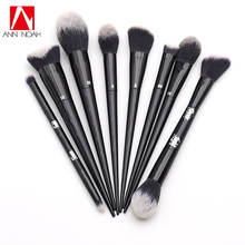 Tattoo Artist Black Long Sleek Stiletto Handle Soft Synthetic Hair 8pcs Makeup Brush Set