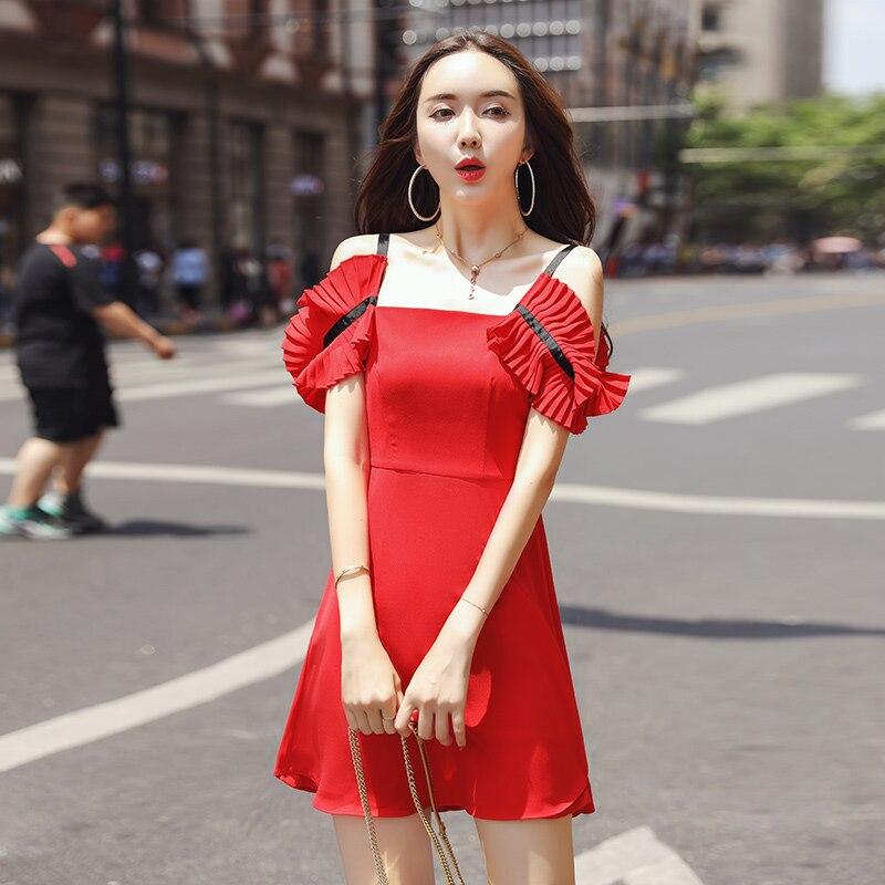 Mousseline de soie robe femmes 2019 nouvelles robes d'été à manches courtes Slash cou moulante femmes robe a-ligne école Preppy robe adolescente