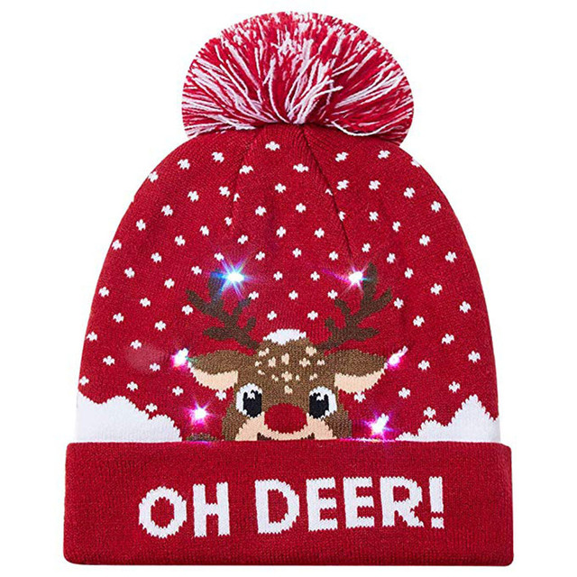 f154f93b2 US $4.9 |LED Light up Knitted Ugly Xmas Christmas Beanie ugly christmas  sweater kids new year decorations reindeer hat-in Christmas Hats from Home  & ...