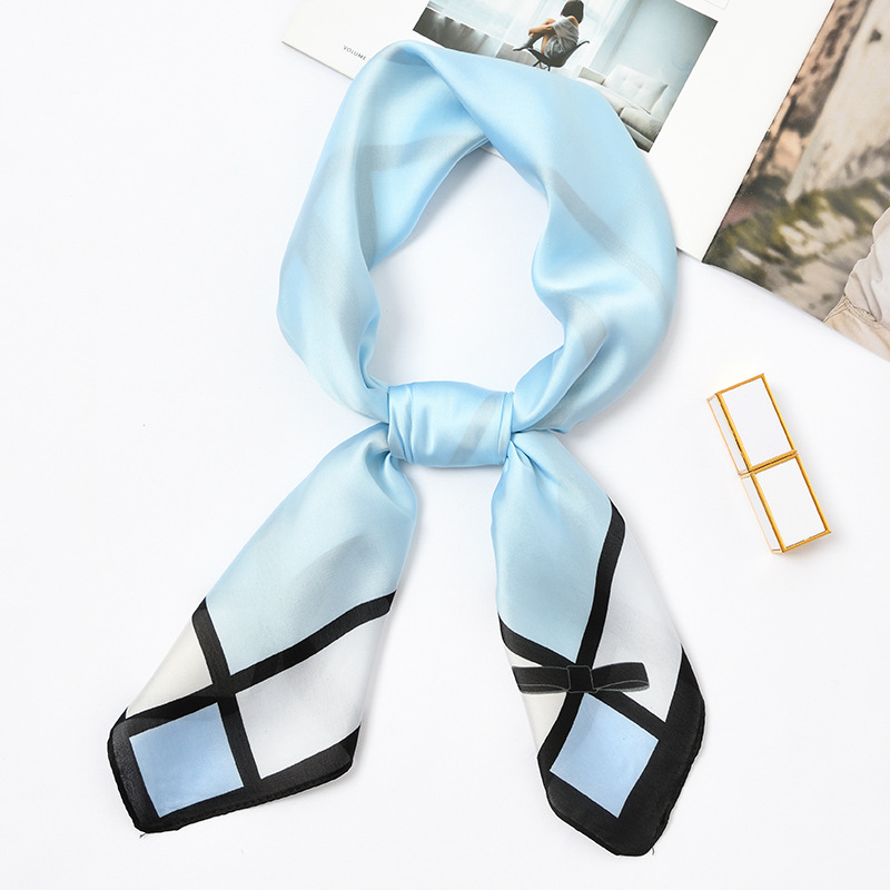 70*70cm Elegant Silk   Scarf   Women Retro   Scarf   Multicolor Head   Scarf   Bowknot Design Print Kerchief Woman Neck Shawl   Wraps