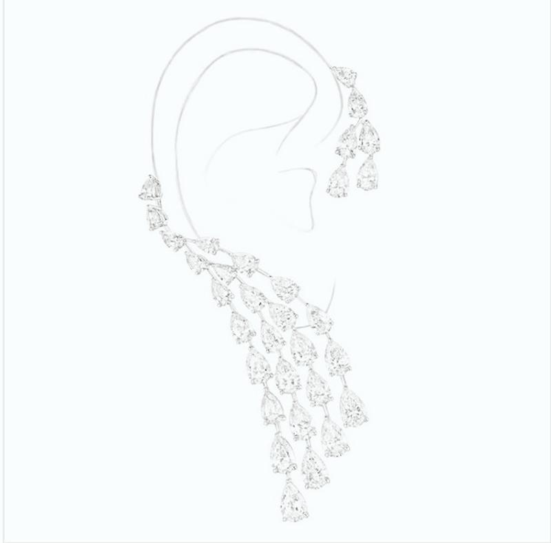 Женские серьги капельки с фианитом hiневесты Клипсы из цельного