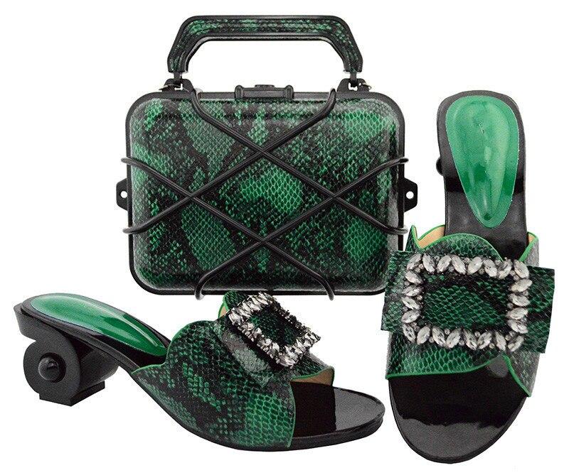 Изящные зеленые дизайнерские туфли-лодочки с комплект с сумкой Красивые вечерние обувь и комплект с сумкой GL02