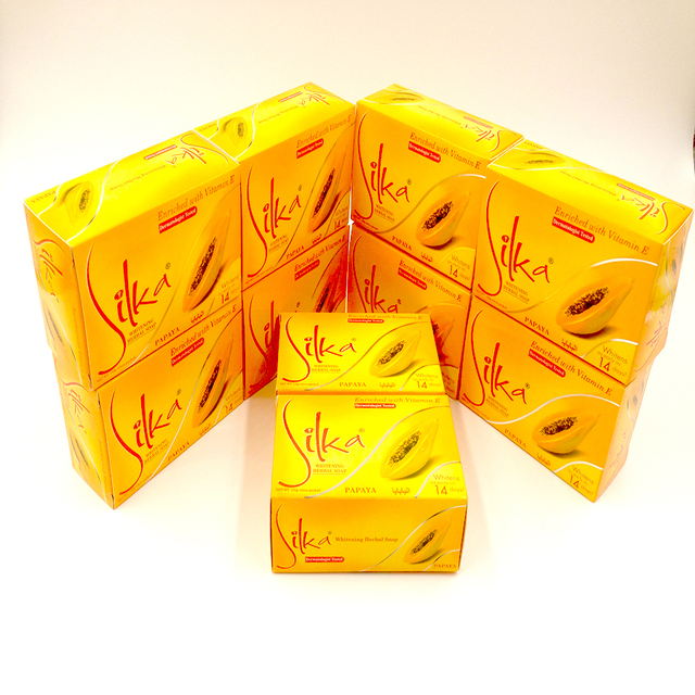 10pcs/lot Silka Skin Whitening Papaya Soap Lightening Herbal Body Skin Bleaching Soap Face Cleanser 135g 2