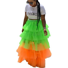 Women Sexy Mesh Transparent High Waist Cupcake Skirt Summer Bohemian Patchwork A-Line Ball Gown Skirts