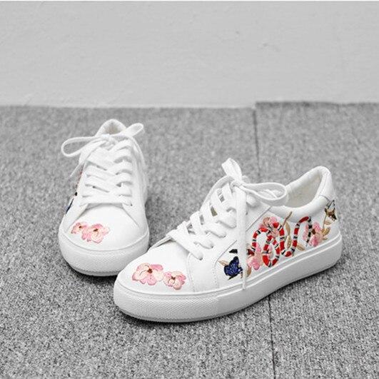 Smile Circle 2017 Spring Autumn Shoes Women Lace-up Embroidery Flat Shoes Women Fashion Designer Flower Casual Platform Shoes