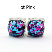 14 Colors Silver Plated Kate Glitter Studs Earrings Square Spade Ear Button 2