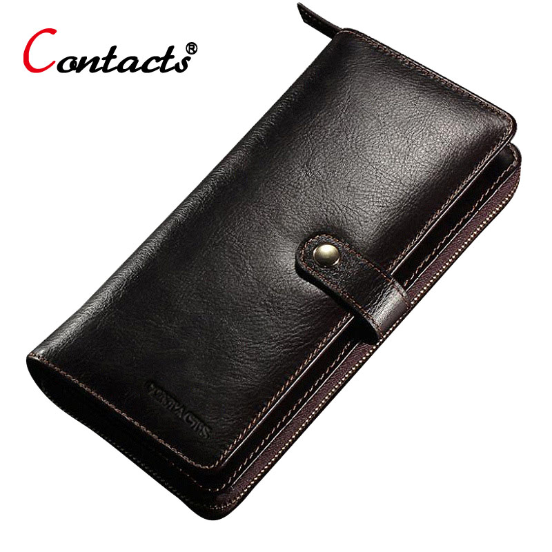 CONTACT'S Brand Genuine Leather Men Wallet Clutch Male Purse Long Business Credit Card Holder Handy Men Wallet Phone Money Bag long wallet men business wallets money clutch bag leather coin credit id card holder billfold purse wallet male carteira 228