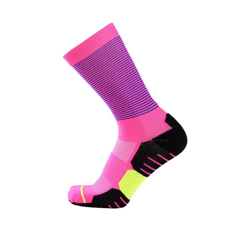 Striped Long Tube Sport Socks Towel Bottom Thicker Athletic Basketball Socks Cycling Gym Hiking Riding Bike Socks Wholesale