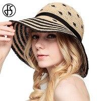 Fsブラックグリーンブラウン夏ストライプワイドつば女性ラフィアわら帽子ファッションuvプロテクトちょう結びビーチ女性フロッピー太陽帽子