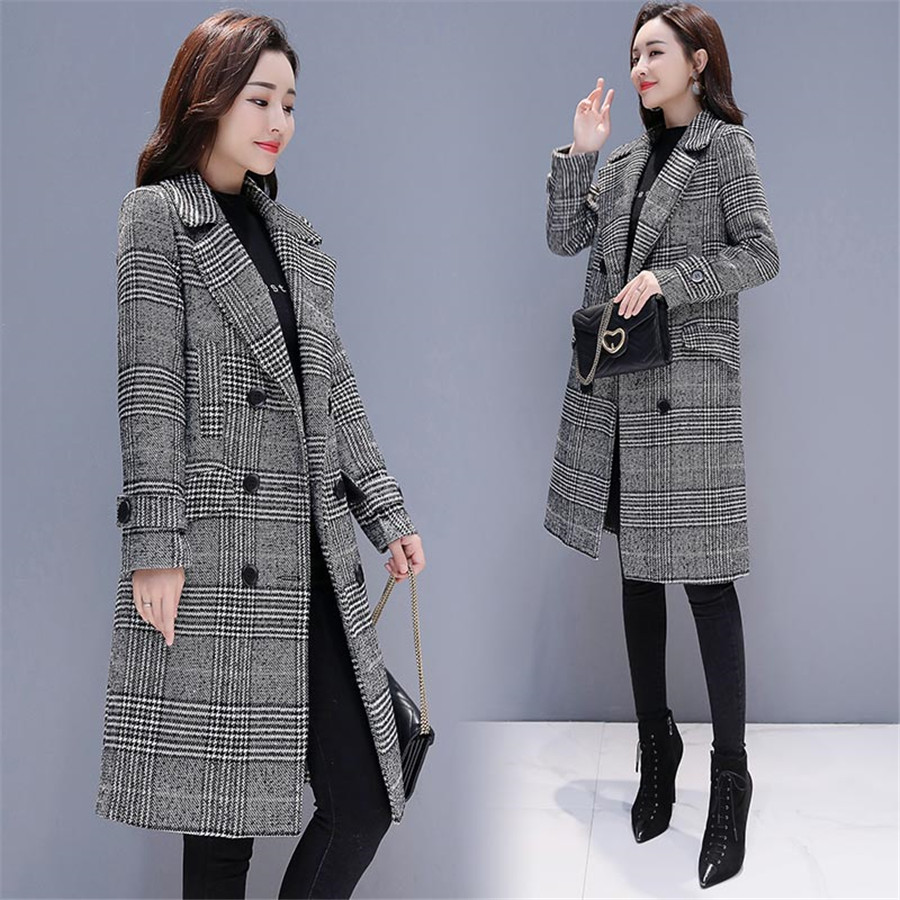 Image 4 - Hodisytian Winter Women Wool Blends Plaid Trench Coat Elegant  Outerwear Casual Loose Thick Cardigan Female Cashmere OvercoatWool