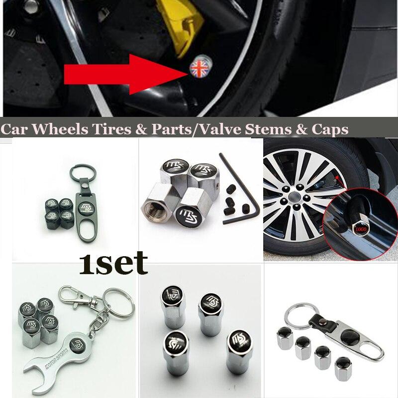 1set For MS logo car wheel tire valve stem cap auto leather key chain holder For Mazda CX 5 7 9 RX MPV MX