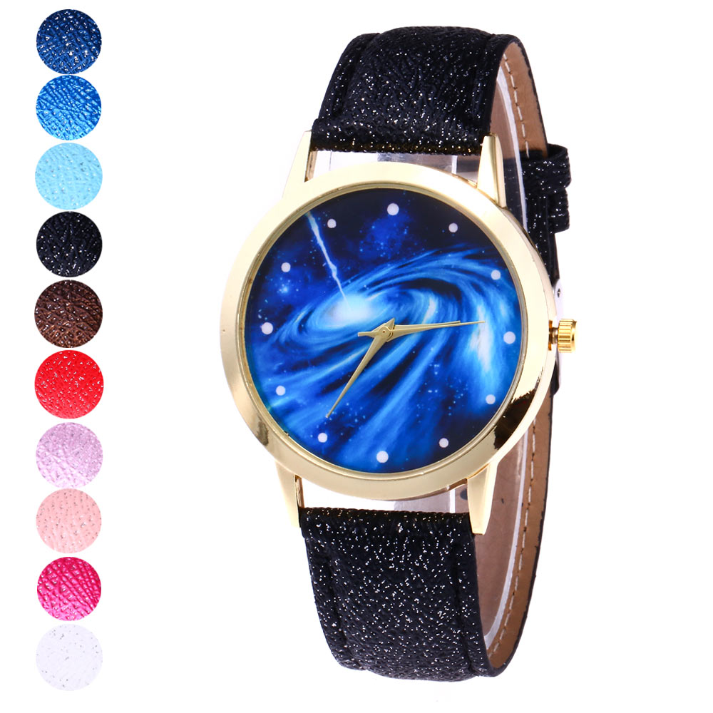 Fashion Men Women Quartz Watch Sky Space Universe Galaxy Dial PU Leather Strap Wristwatch Clock TT@88