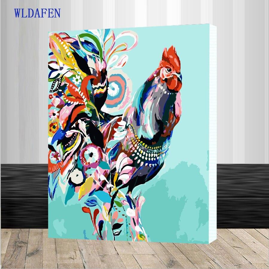 Оформлена живописи по номерам Краска по количеству для домашнего декора PBN для гостиной 4050 красочные куриные картины по номерам на холсте к...