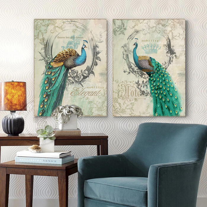 2 panel peacock blue retro frame decorative artist decorative wall art oil painting canvas art abstract
