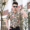 Летом Стиль Роскошные Мужские Рубашки 2016 Мода Коротким Рукавом рубашка Мужчины Высокого Шелковый Марка Одежды Slim Fit Сорочка Homme 3XL