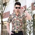 Estilo de Luxo Mens Camisas de Vestido de verão 2016 de Moda Manga Curta camisa Dos Homens De Seda De Alta Marca de Roupas Slim Fit Chemise Homme 3XL