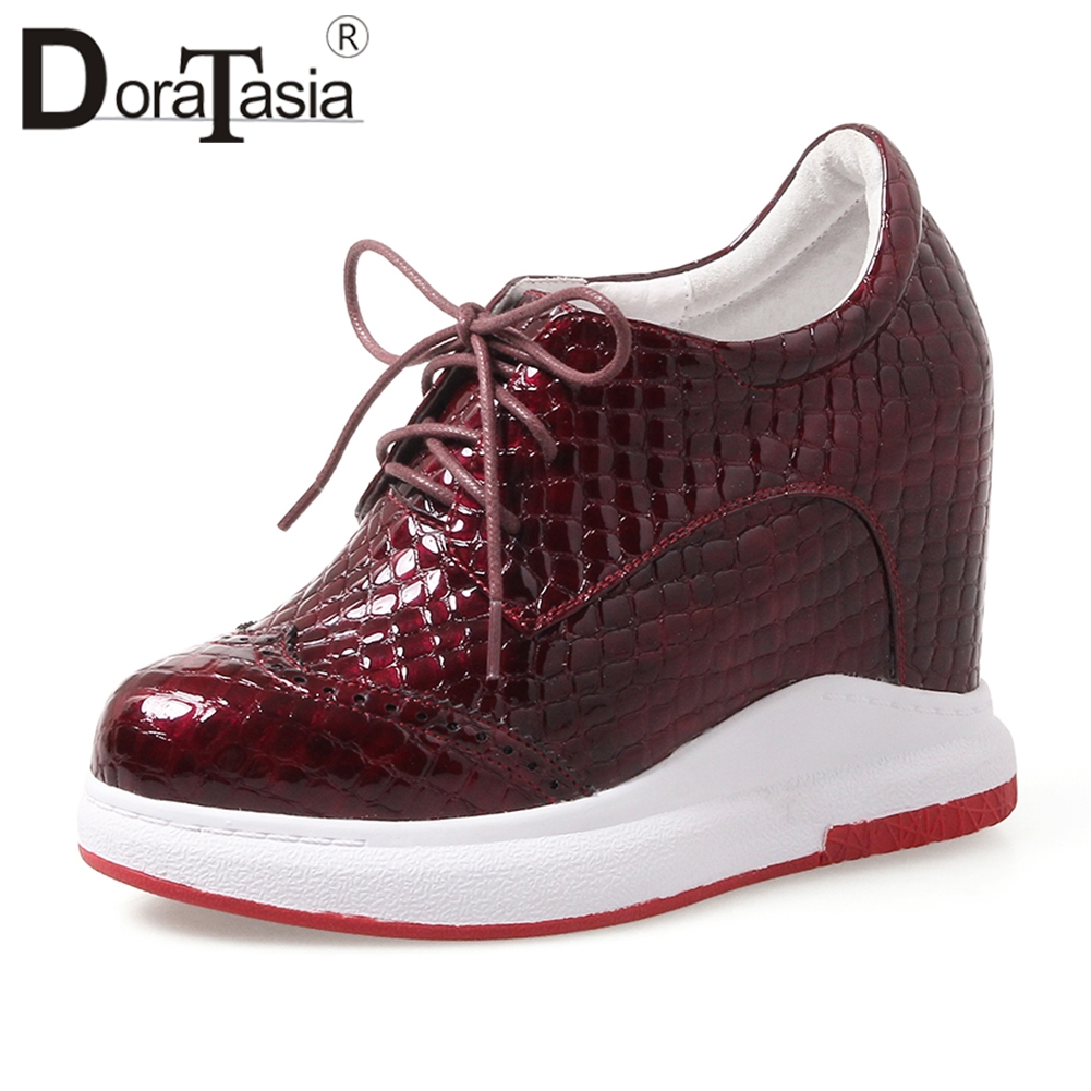 DORATASIA 2019 Autumn New Fretwork Sneakers Women Genuine Leather lace up Platform Shoes Woman Height Increasing