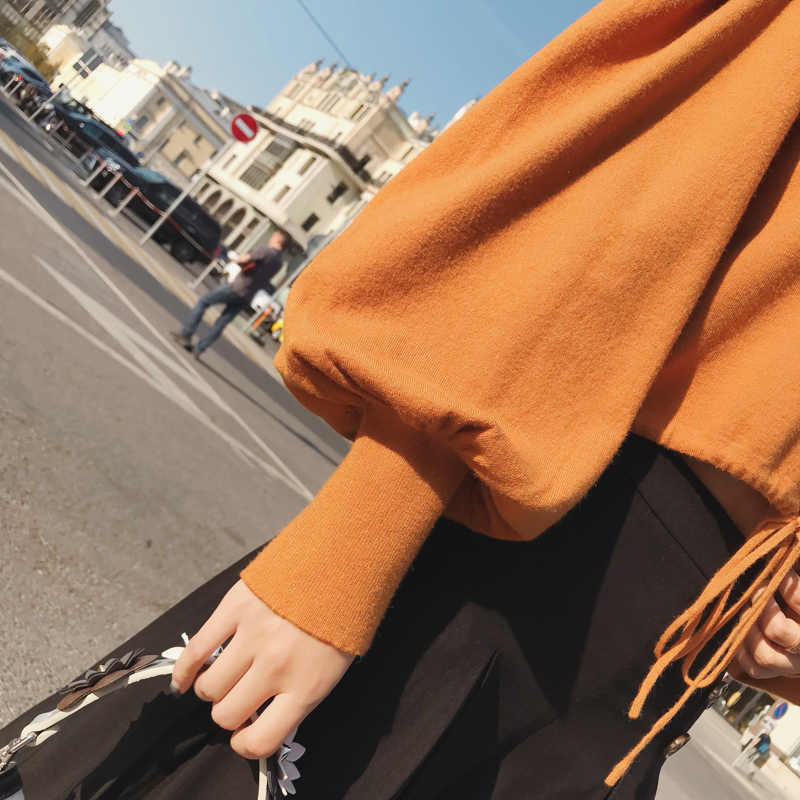 2019 MISHOW otoño vintage suéter tejido para mujer moda casual cuello cuadrado linterna manga corta tops MX18C5196