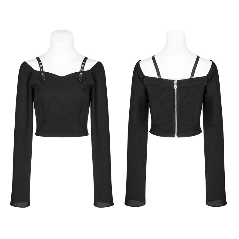 Punk Rave noir gothique mode fermeture éclair décoration en mousseline de soie femmes Sexy court t-shirts hauts visuel Kei OPT230 - 4