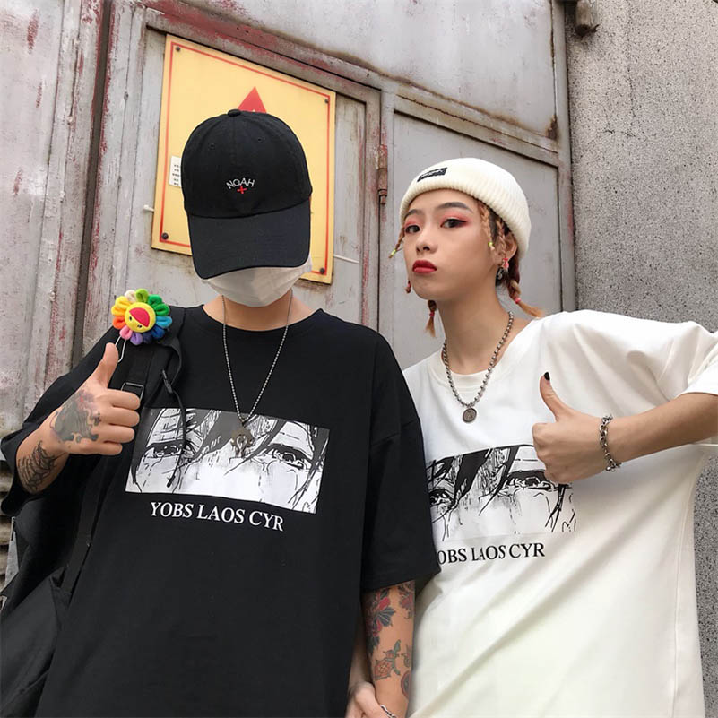 NiceMix Girls Streetwear Cry Eye Letter Print T Shirt Solid Color Short Sleeve T Shirts Summer Causal Loose Tee Top Female Ne w in T Shirts from Women 39 s Clothing