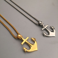Nautical Jewelry Anchor Charm Pendant Necklace Anchor Cross Skull Skeleton Tag Pendant Chain Necklace Mens HipHop