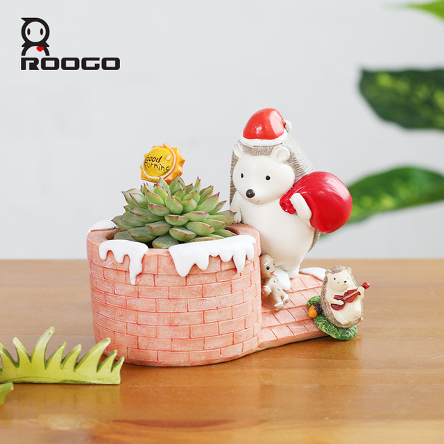 roogo home merry christmas plant pot hedgehog shape santa claus send gift best for lover children