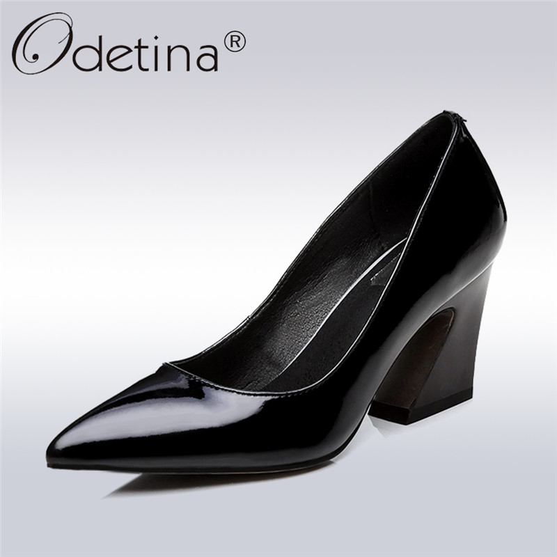 Odetina 2018 Fashion Women Genuine Leather Pumps Slip On Square High Heels Party Shoes Ladies Patent Leather Pointed Toe Pumps цена и фото
