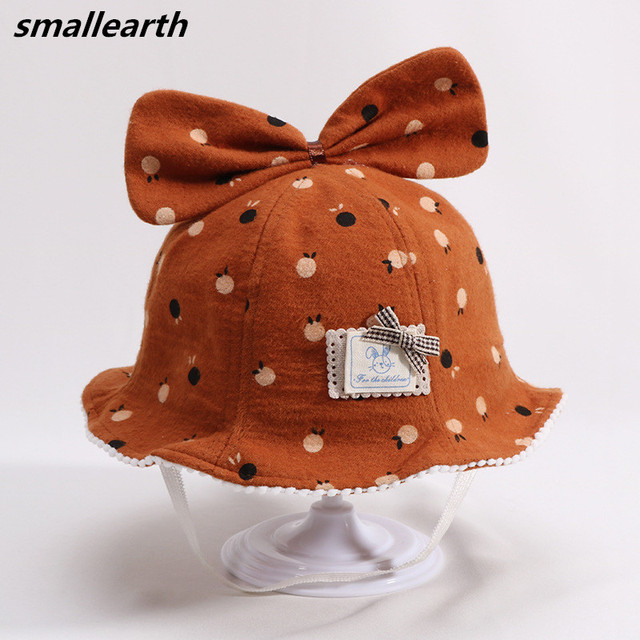 748c41a3e53 Autumn Winter Baby Kids Sun Hats Cotton Fisherman Hat Children Cute Cartoon  Bow Bucket Hat Foldable Beach Sun Cap for Boy Girl