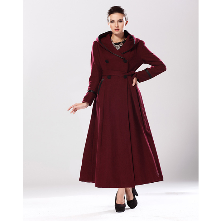 Brand Women Full Length Winter Wool Poncho Dress Coats Long ...