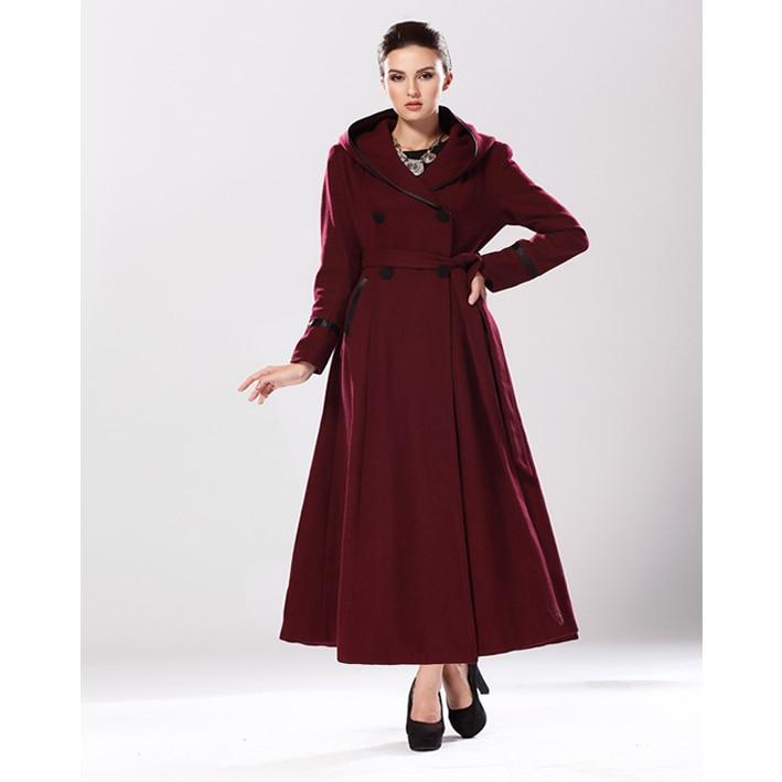 Brand Women Full Length Winter Wool Poncho Dress Coats Long ...