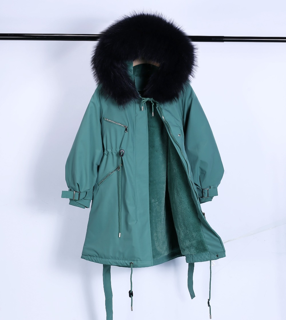 Large Natural Raccoon Fur Winter Jacket Women Hooded 19 Long Parkas For Female Thick Slim Down Winter Coat Women Waterproof 25
