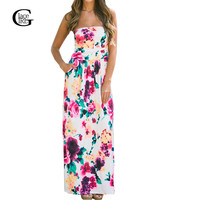 Vestidos 2016 New Summer Dresses Floral Printed Long Dress Sexy Strapless Bohemian Beach Maxi Dress Feminine