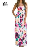 Vestidos 2016 New Summer Dresses Floral Printed Long Dress Sexy Strapless Bohemian Beach Maxi Dress Feminine
