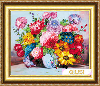 Needlework DIY Ribbon Cross Stitch Sets For Embroidery Kit Blossoml Vase Flowers Bands Embroidery Wall Wedding
