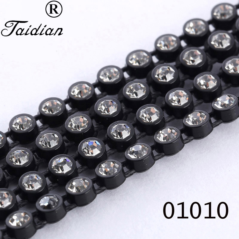ss12 Rhinestone Cup Chain Black Plastic Clear Crystal Stone Crystal Chain Trim Earring Accessories 10yards/lot